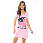 just love sleep dress for women/sleeping/dorm shirt/nightshirt,pink - i love you to the moon,1x plus