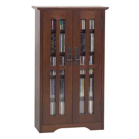 Leslie Dame Enterprises M-190 Mission Style Glass Mounted Cabinet Multimedia Storage