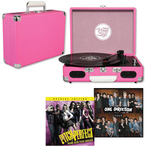 Pink Vinyl Styl Groove Portable Turntable with your choice Vinyl