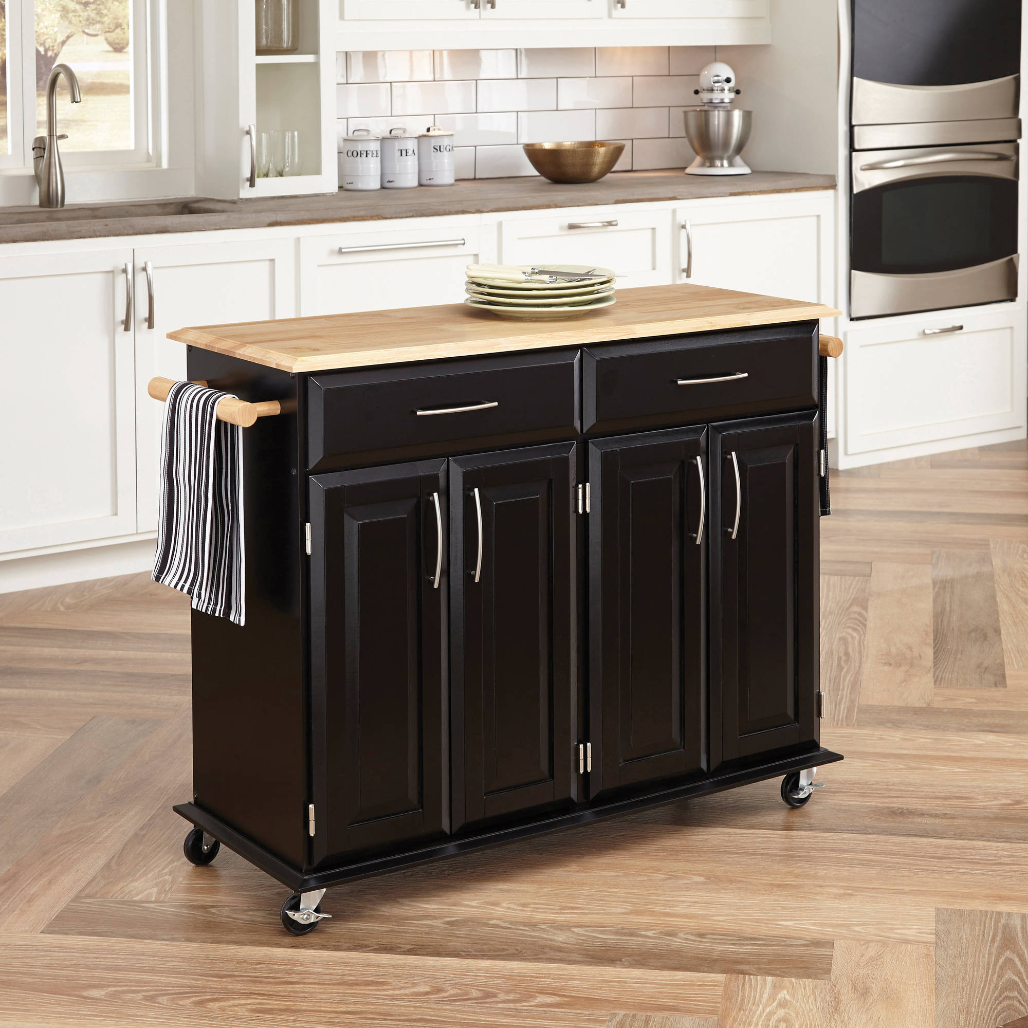 Home Styles Dolly Madison Black Island Cart Walmartcom - Kitchen islands at walmart