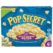 (4 Pack) Pop Secret Microwave Popcorn, Movie Theater Butter, 3.2 Oz, 6 Ct