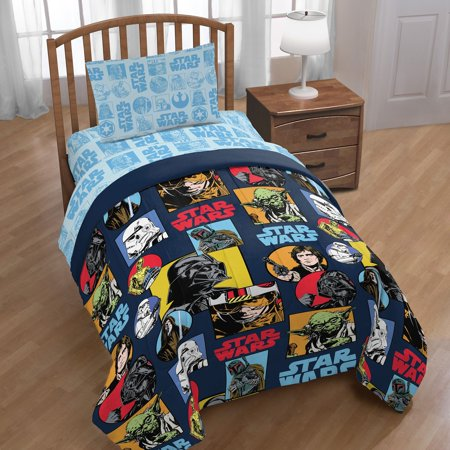 Star Wars Galactic Grid 4 Piece Twin Bed in a Bag (Star Wars Bed Set)