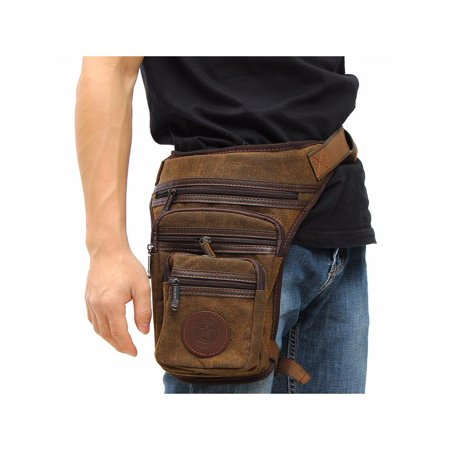 Men Multifunction Outdoor Hiking Motorcycle Riding Leg Bag Canvas Waist Money Belt Pack For Friend Father Gift