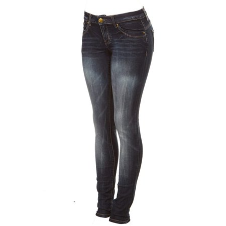 Cover Girl Women's Dark Wash Low Waist Skinny Jeans, Midnight Blue, Junior 9