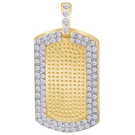 1.25 Cttw Round Cut White Natural Diamond Iced Out Hip Hop Jewelry Dog Tag Pendant In 10k Solid Yellow Gold