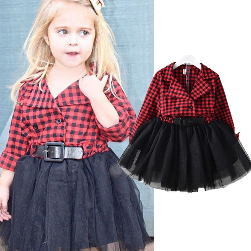 Sweet Toddler Baby Girls Checked Dress Princess Wedding Party Prom Tulle Dresses