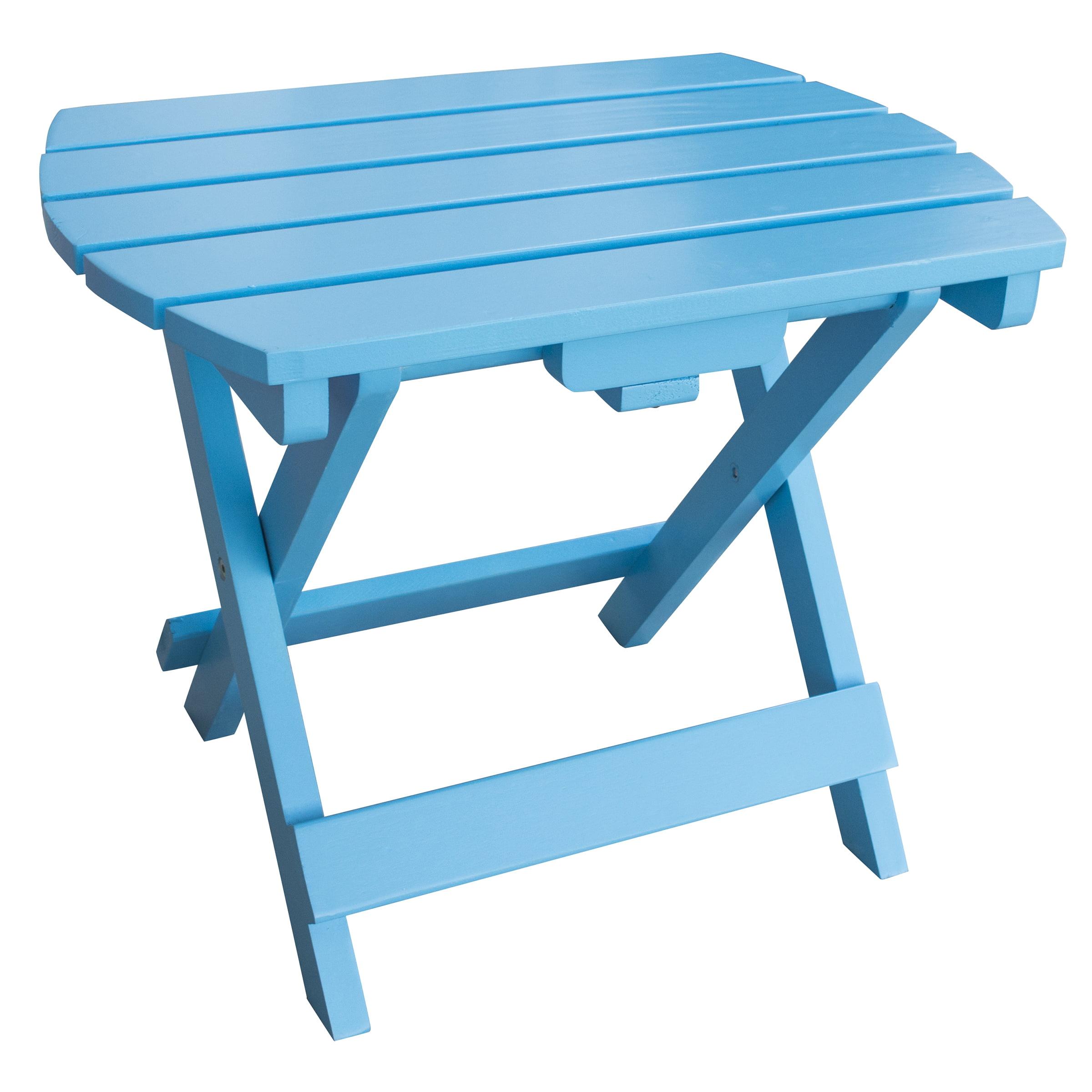 AmeriHome Solid Wood Adirondack Folding Side Table with Painted Finish Aruba Blue by Buffalo Corp