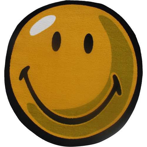 Fun Rugs Smiley Round Rug, Yellow