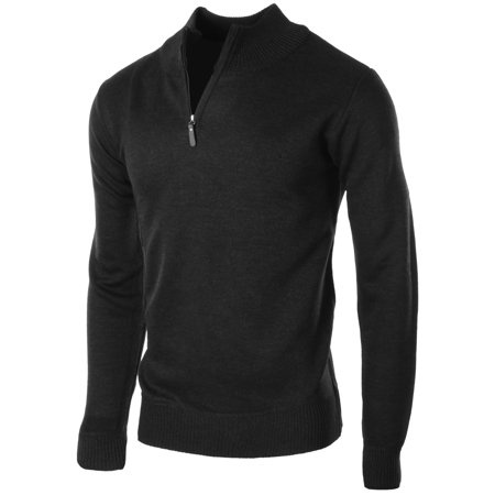 Men's Sophisticated Mid Zip Up Slim Fit Long Sleeve Turtleneck Sweater Collared Black Size Small