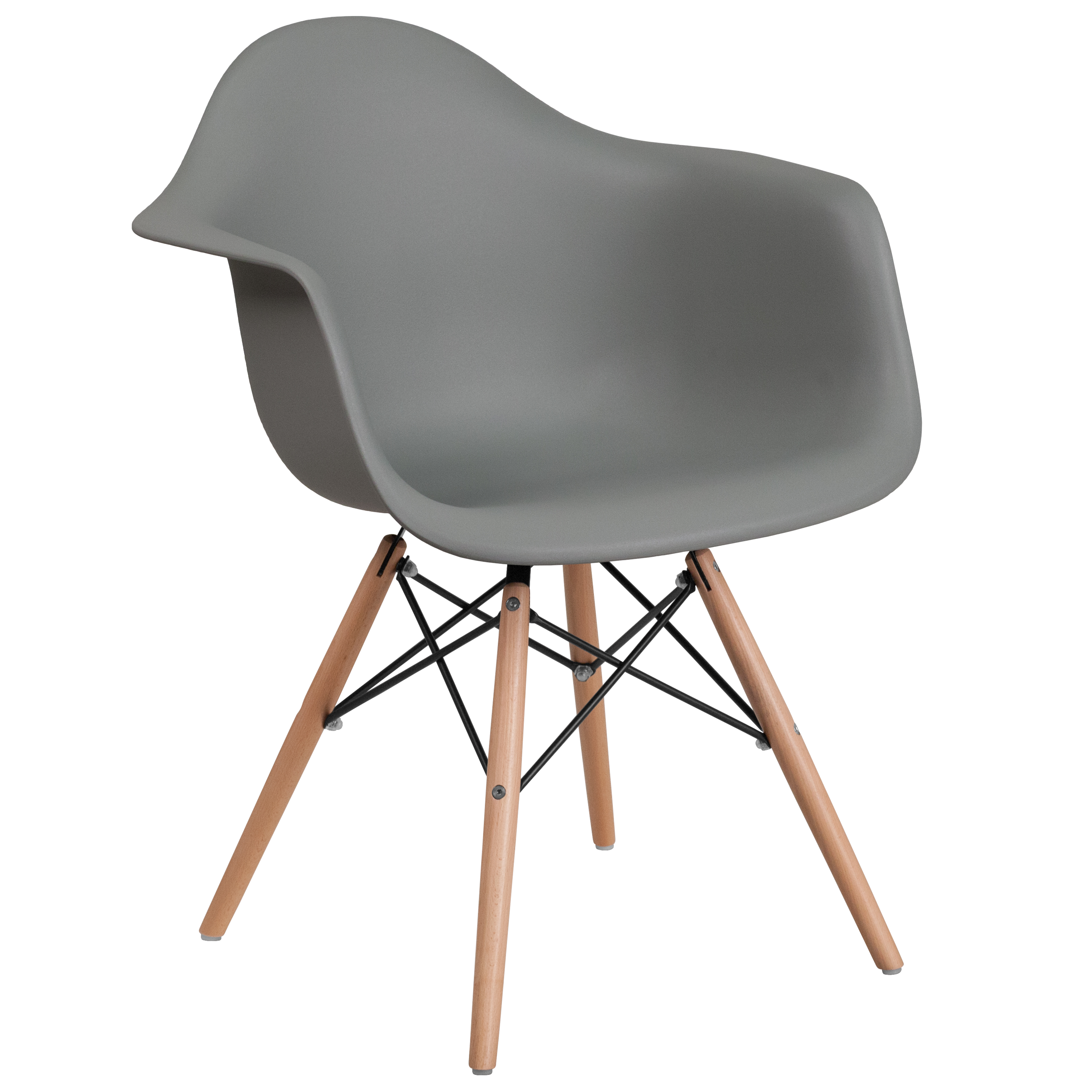 Flash Furniture Alonza Series Gray Plastic Chair with Wood Base