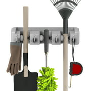 Shovel, Rake and Tool Holder with Hooks- Wall Mounted Organizer for Garage or Shed-Hang Home and Garden Tools-Space Saving Racks by Stalwart (2 Pack)