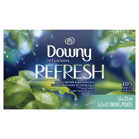 Fabric Softening Sheets - Downy Infusions Fabric Softener Dryer Sheets, Refresh, Birch Water & Botanicals, 105 count