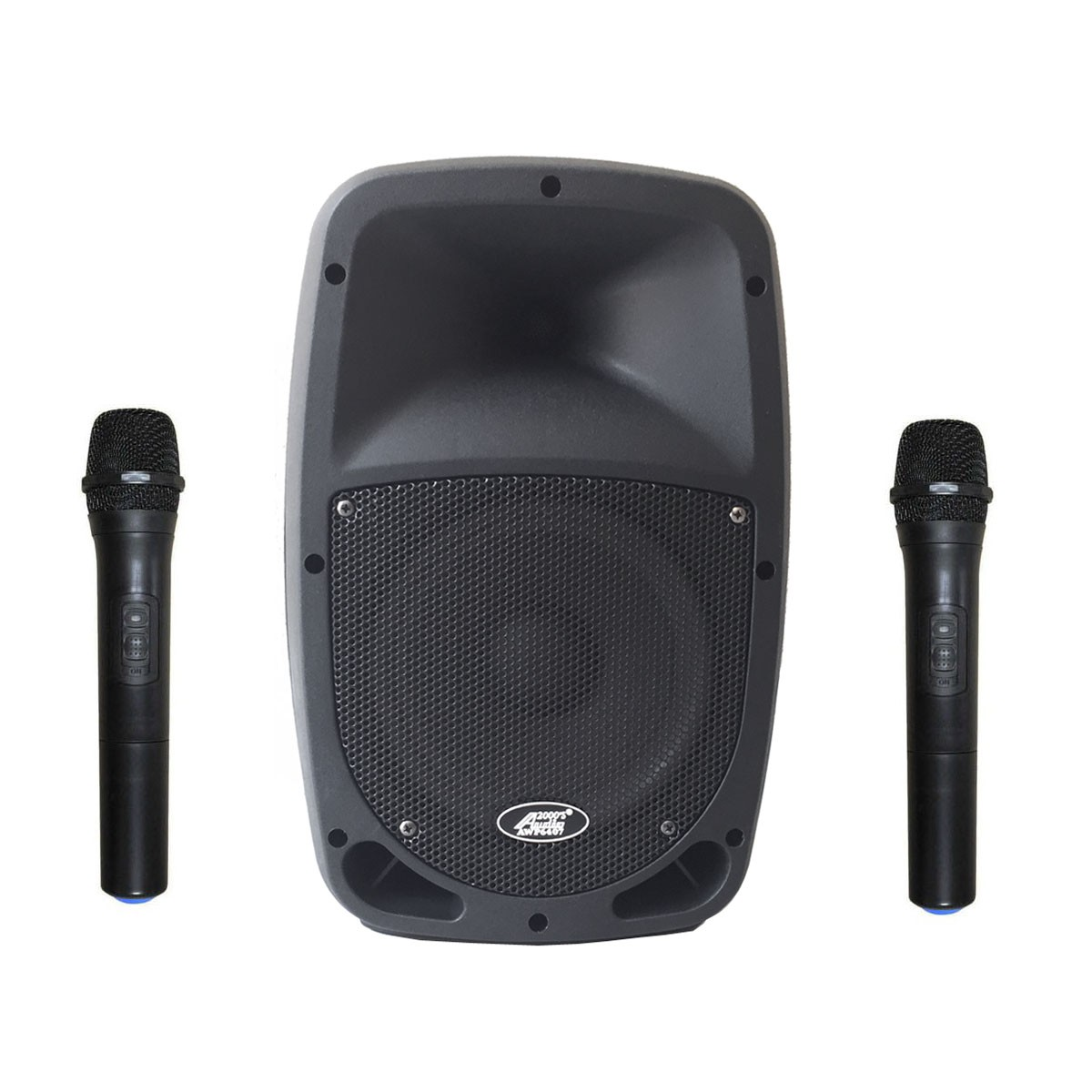 """Audio 2000s 6407HH 30W 8"""" Dual Channel Wireless Microphone Bluetooth Portable PA System with 2 Handhelds by Audio2000%27S"""