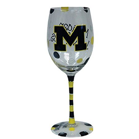 michigan wolverines blue and yellow hand painted wine glass](Halloween Painted Wine Glasses)