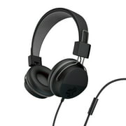 JLab Audio Neon Headphones On-Ear Feather Light, Ultra-plush Eco Leather, 40mm drivers, GUARANTEED FOR LIFE - Black