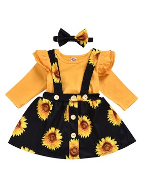 KidPika Newborn Baby Girl Clothes Ruffle T Shirt Top Floral Strap Skirt Dress Outfit Set