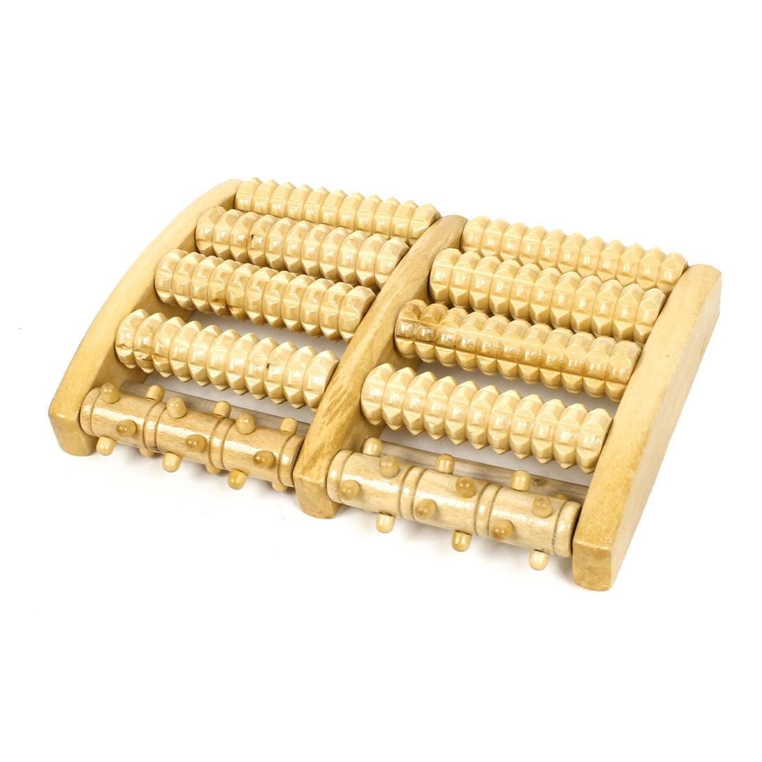 5 Rows Wood Roller Foot Care Massage Reflexology Relax Massager Tool