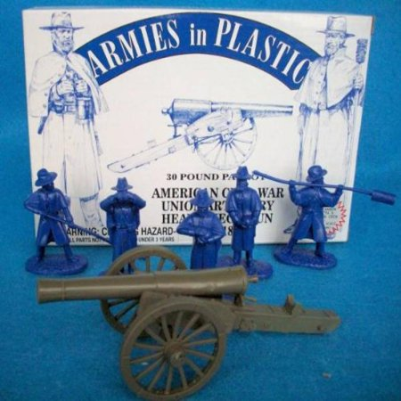 Armies in Plastic American Civil War Union Artilley 30 Pound Parrot with 5 Man Crew Offered By Classic Toy Soldiers, Inc (Civil War Model Cannons)