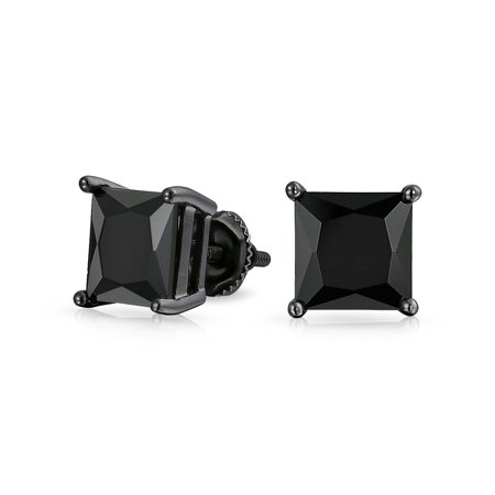 925 Silver Simulated Onyx Square CZ Screw Back Stud Earrings