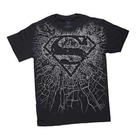 DC Comics Superman Broken Glass Mens Black T-Shirt | M