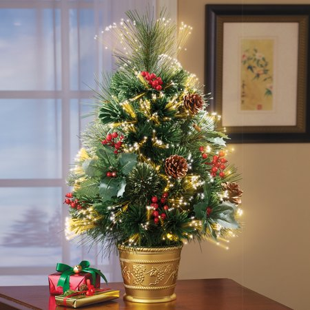 Collections Etc Fiber Optic Pine Tabletop Christmas Tree ()