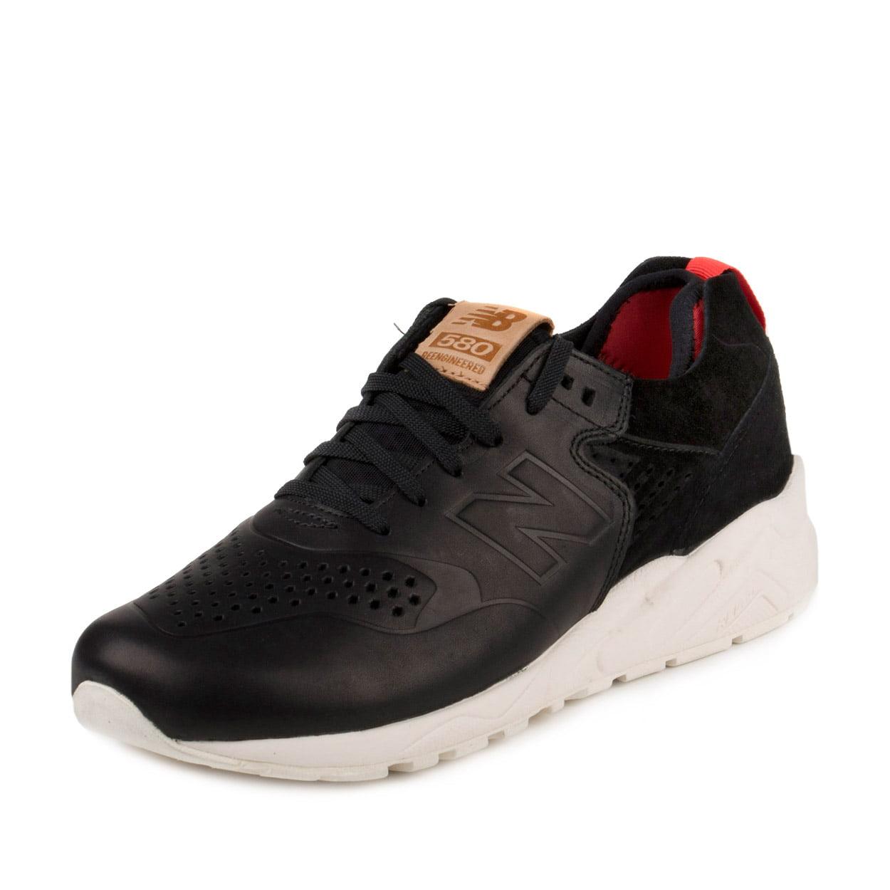 New Balance MRT580DK: 580 BLACK/White/Red Premium Comfort Casual Leather Sneaker