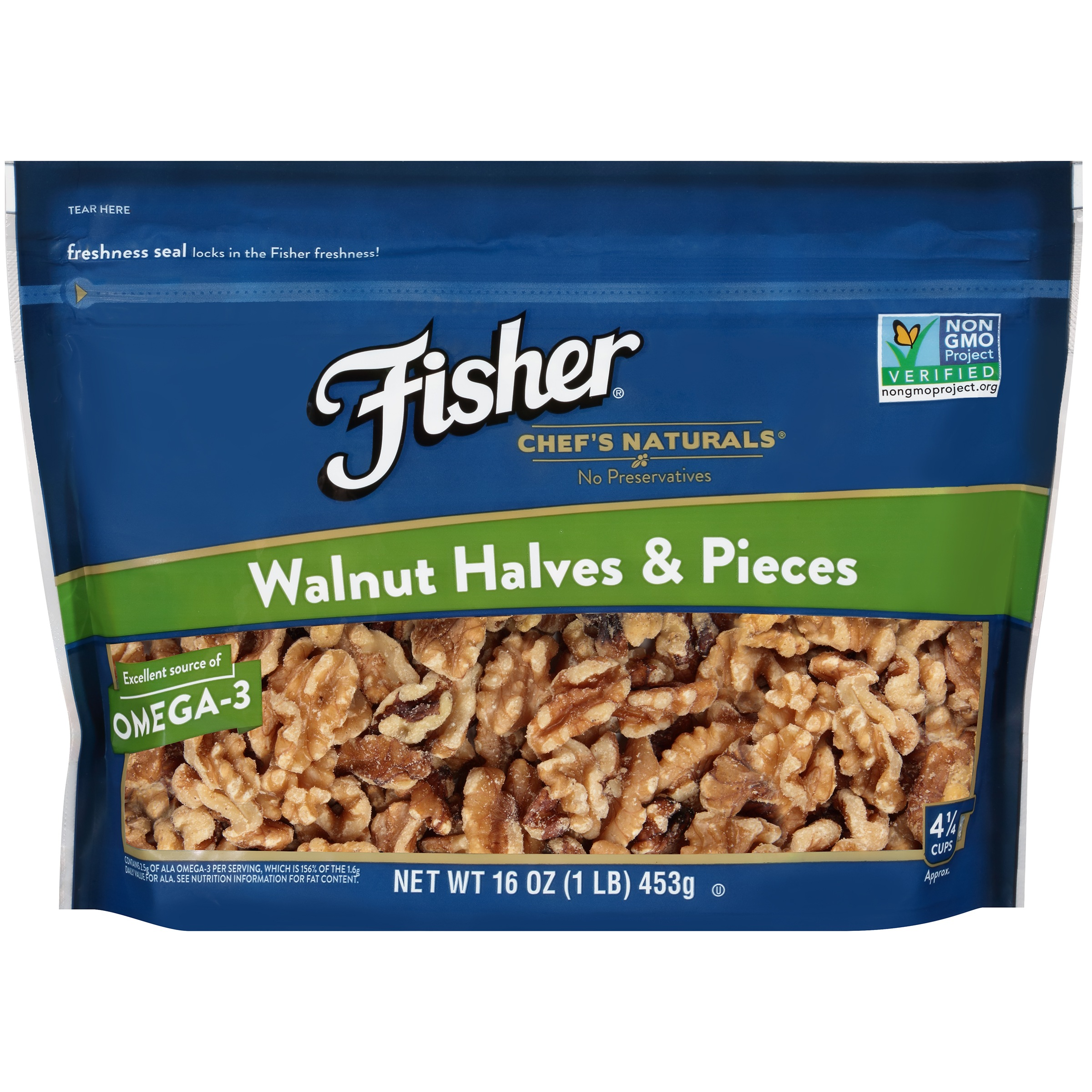 Fisher Chef's Naturals Walnut Halves & Pieces, 16 oz