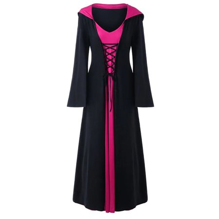 Women's Witch Hoodies Halloween Fancy Maxi Dress Gothic Cosplay Costume
