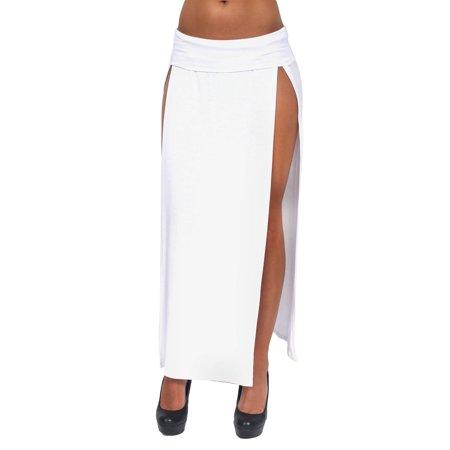 Split Spandex Skirt (Women's Juniors Skirt Split Open Front Long Banded Waist Casual Dress Night Club)