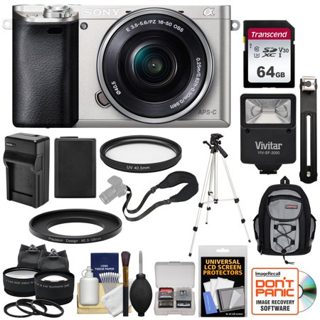 Sony Alpha A6000 Wi-Fi Digital Camera + 16-50mm Lens (Silver) with 64GB Card + Battery + Charger + Flash + Backpack + Tripod + 2 Lens Kit Brown Silver Flash Lens