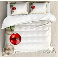 Christmas Queen Size Duvet Cover Set, Abstract Festive Celebration Icons Balls Coniferous Tree Branches Bowties, Decorative 3 Piece Bedding Set with 2 Pillow Shams, Beige Red Green, by Ambesonne