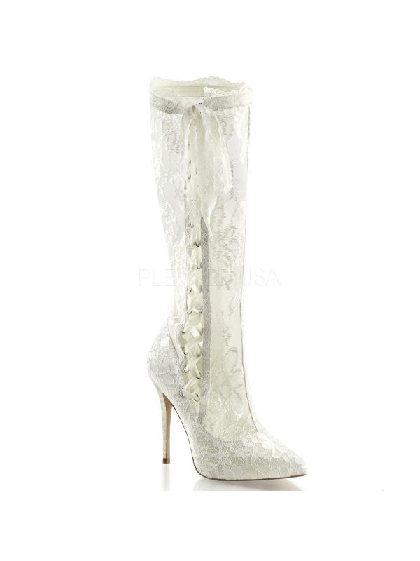 """AMU2012/IVSA-LC Fabulicious Boots 5"""" Amuse Ivory Satin-Lace Size: 9"""