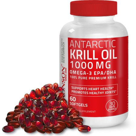 Pure Premium Antarctic Krill Oil 1000mg w/ Omega-3s, Astaxanthin - Heavy Metal Tested (Best Krill Oil 1000mg)
