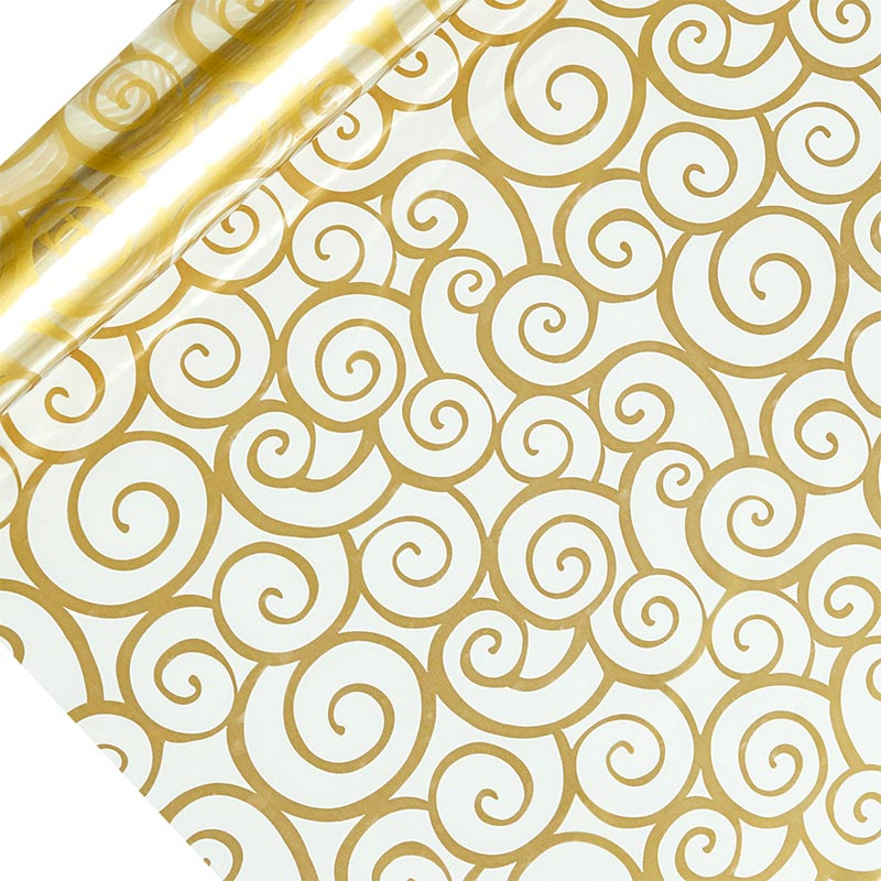 "Gold Swirl Printed Cellophane 30"" X 100' by Paper Mart"