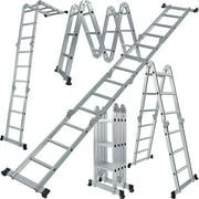 Den Haven Scaffold Folding Ladder Heavy Duty Aluminum Multi-Purpose 12.5 Feet