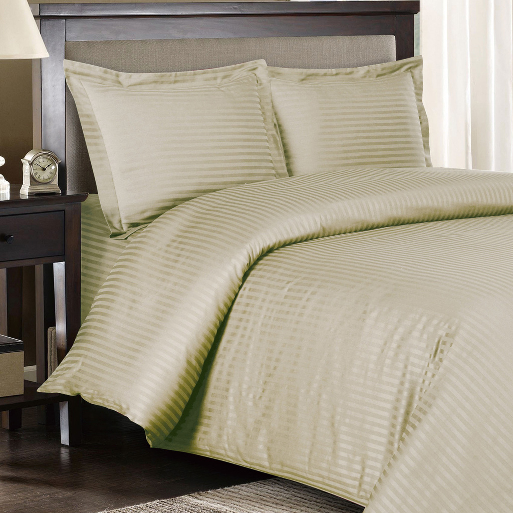 Egyptian Bedding 100% Egyptian Cotton 300 Thread Count 4 Peice Bed Sheet Set, Beige Stripe, Queen Size