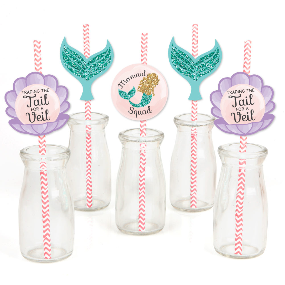 Trading The Tail For A Veil - Paper Straw Decor - Mermaid Bachelorette Party or Bridal Shower Striped Decor Straws-24 Ct