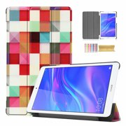 Huawei MediaPad T5 8.0 Case, Allytech Premium PU Leather Multi Angle Stand Ultra Slim Lightweight Shockproof Protective Folio Flip Anti-Scratch Case Cover for Huawei MediaPad T5 8.0, Magic Cube