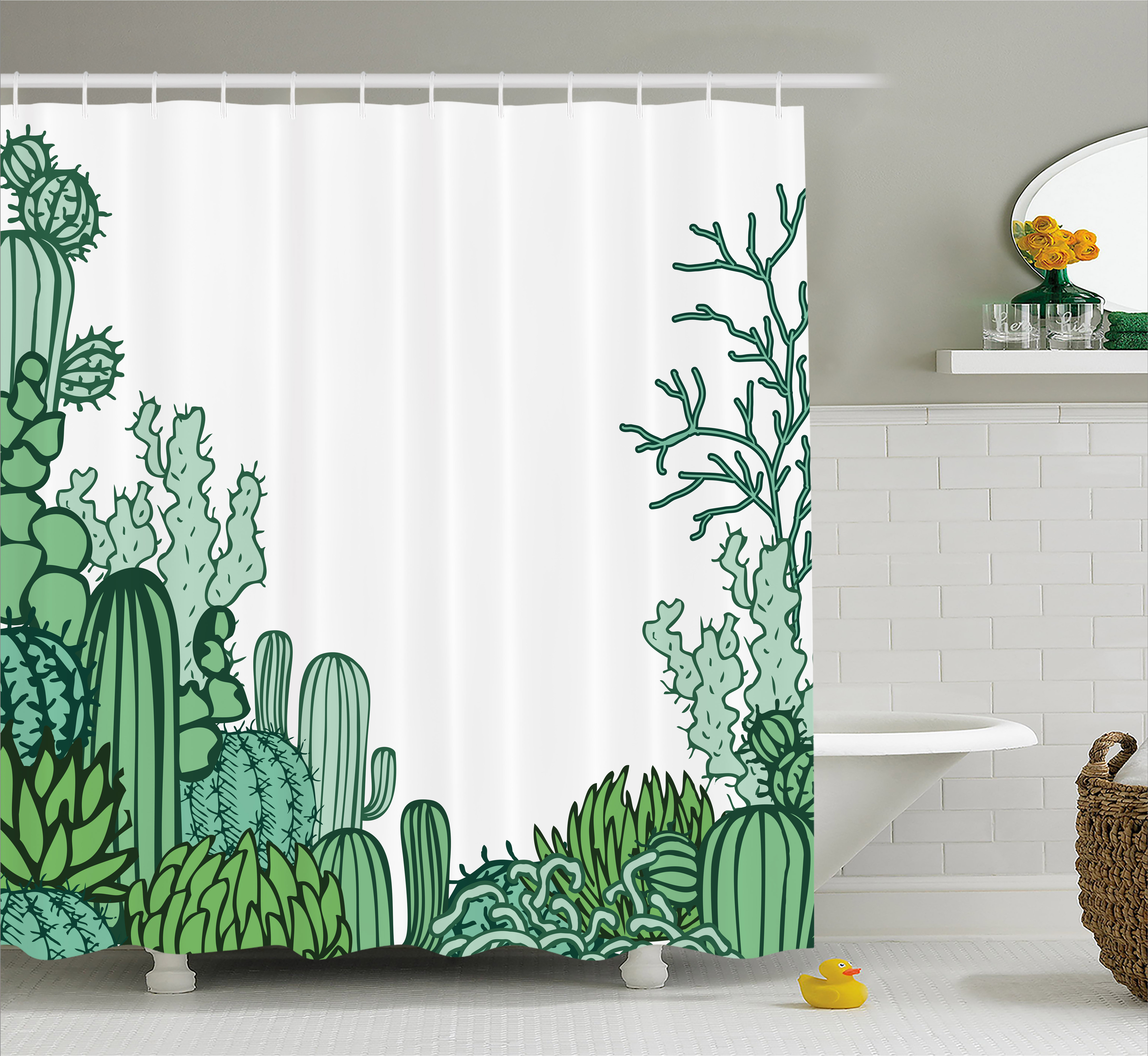 Cactus Shower Curtain Arizona Desert Themed Doodle Staghorn Buckhorn Ocotillo Plants Fabric Bathroom Set With Hooks Green Pale Seafoam