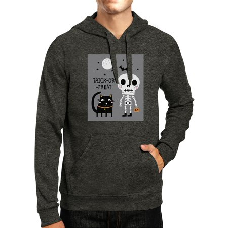Skeleton Black Cat Dark Grey Cat Halloween Costume Hoodie Pullover