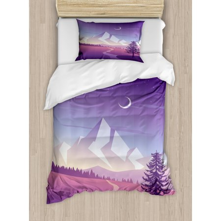 Northwoods Duvet Cover Set Twin Size, Mountain Scenery with Lonely Pine Tree River and Hills at the Back, Decorative 2 Piece Bedding Set with 1 Pillow Sham, Violet Pink Pale Grey, by (One Tree Hill River Court Pieces For Sale)