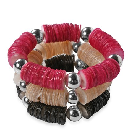 Set of 3 Handcrafted Multi Color Capiz Shell Strand Fashion Bracelet for -