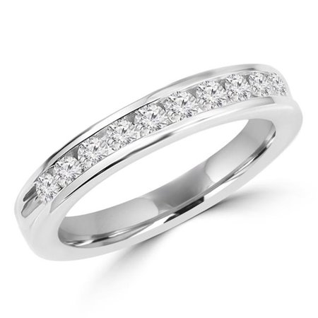 MDR150003-3.5 0.5 CTW Diamond Channel Set Semi-Eternity Wedding Band Anniversary Ring in 14K White Gold - Size 3.5 Channel Set Diamond Anniversary Ring