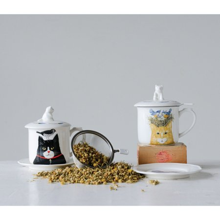 3R Studios Cat Mugs with Saucers Lids & Strainer - Set of - Mug Saucer