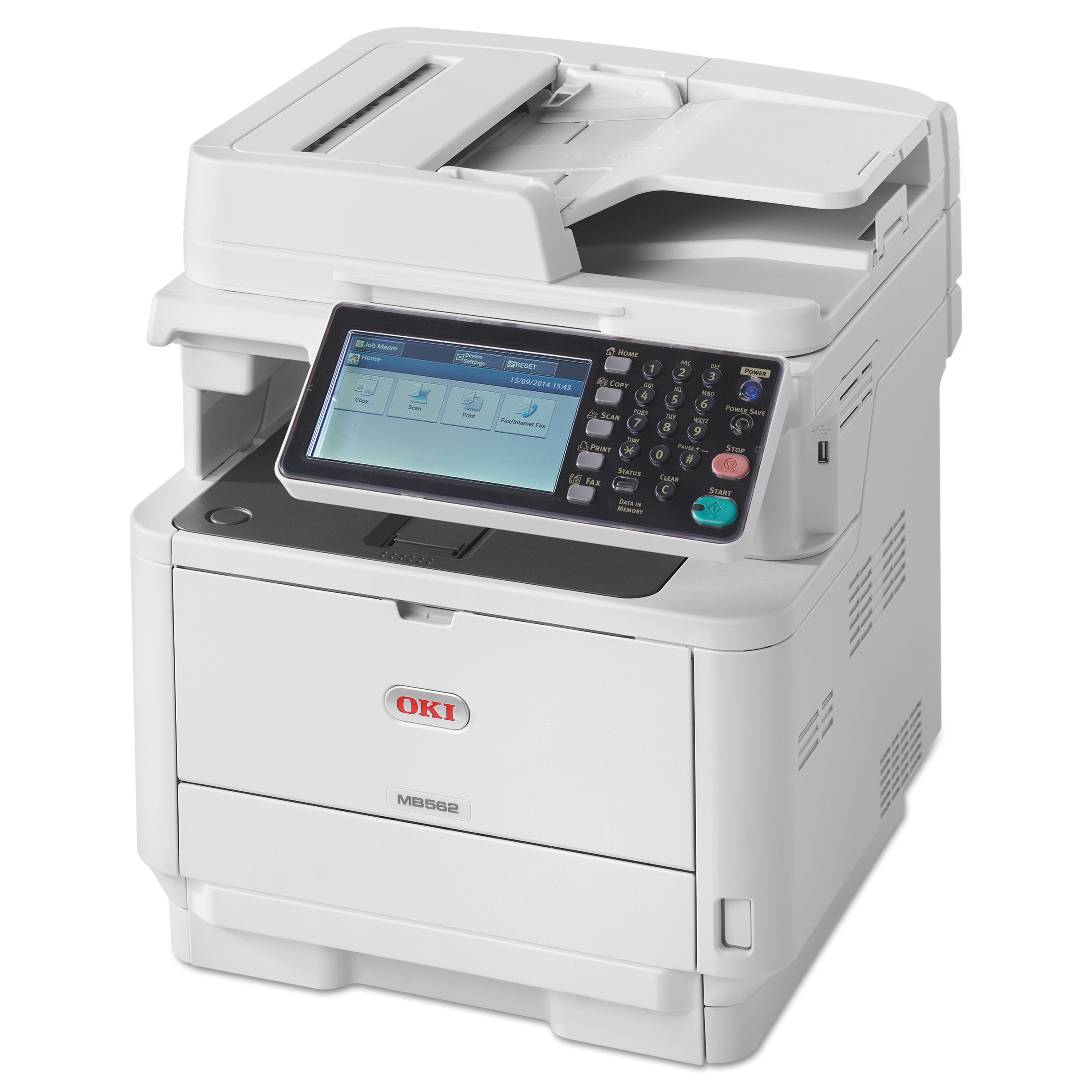Oki MB562W Monochrome Wireless Multifunction Laser Printer, Copy/Fax/Print/Scan