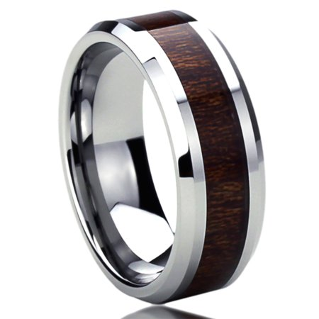 Men Women 8MM Titanium Comfort Fit Wedding Band Ring Wood Grain Inlay Beveled Edges Ring (6 to (Wood Womens Ring)