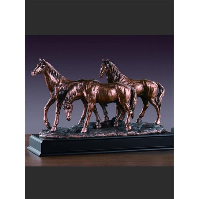 Marian Imports F53165 Three Horses Grazing Bronze Plated Resin Sculpture by Marian Imports