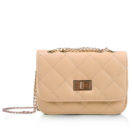 HDE Women's Small Crossbody Handbag Purse Bag with Chain Shoulder Strap (Beige) Hannah Montana Purse Handbag