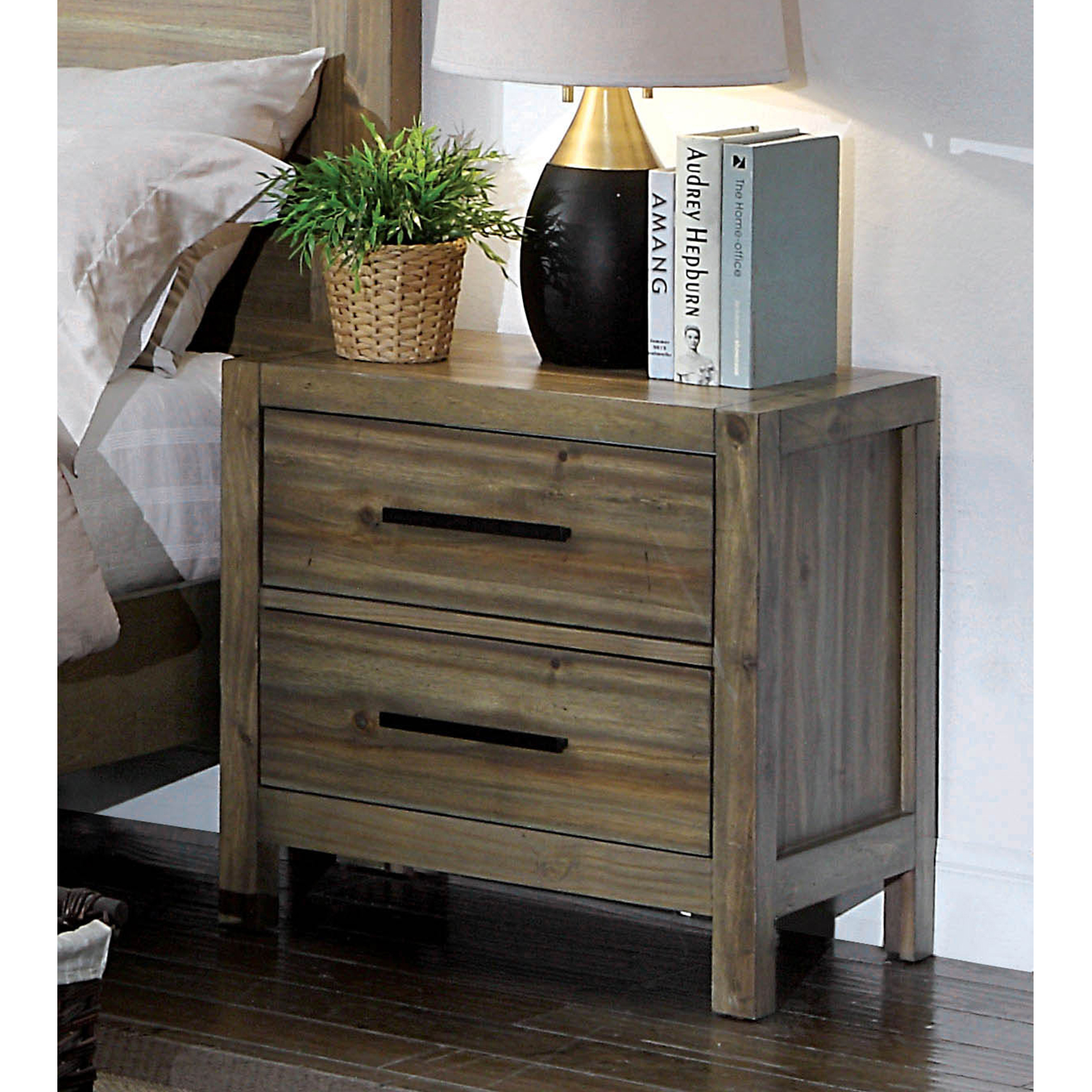 Furniture Of America Coppelia Contemporary Light Oak 2 Drawer Nightstand