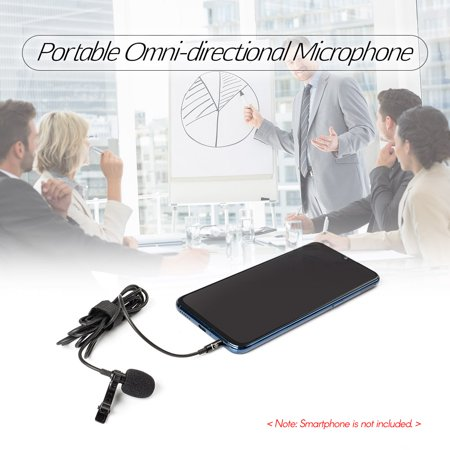 Lavalier Lapel Microphone à pince portable Mic Prise audio 3,5 mm Longueur, 1,5 m Microphone omnidirectionnel à réduction de bruit pour caméra Smartphone - image 4 de 7
